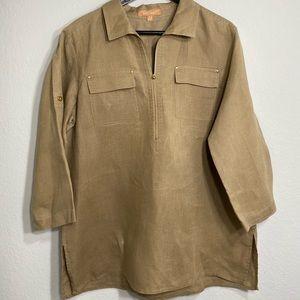 ELLEN TRACY 100% linen safari tan/brown blouse.